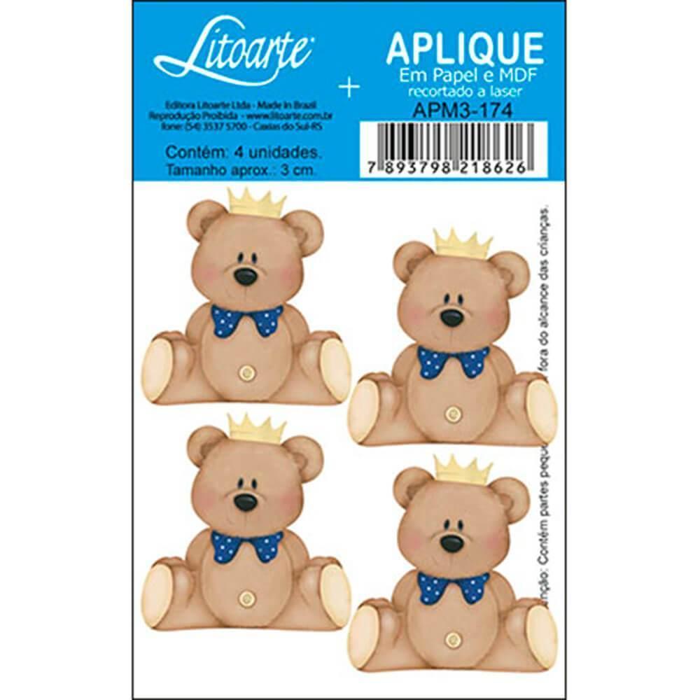 Baby Teddy Bear Crown Blue Boy : Wood Embellishment Crafts Scrap Shape Laser