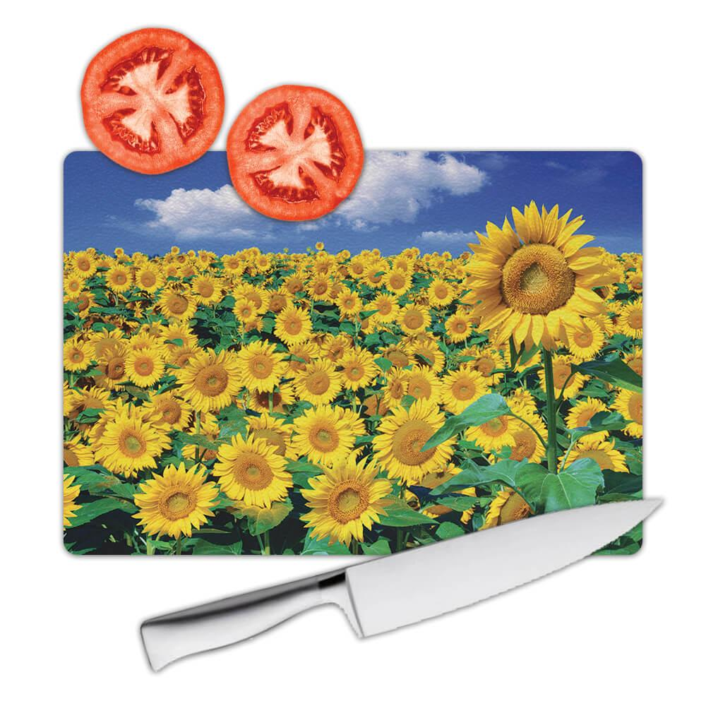 Sunflower Field : Gift Cutting Board Flower Floral Yellow Decor
