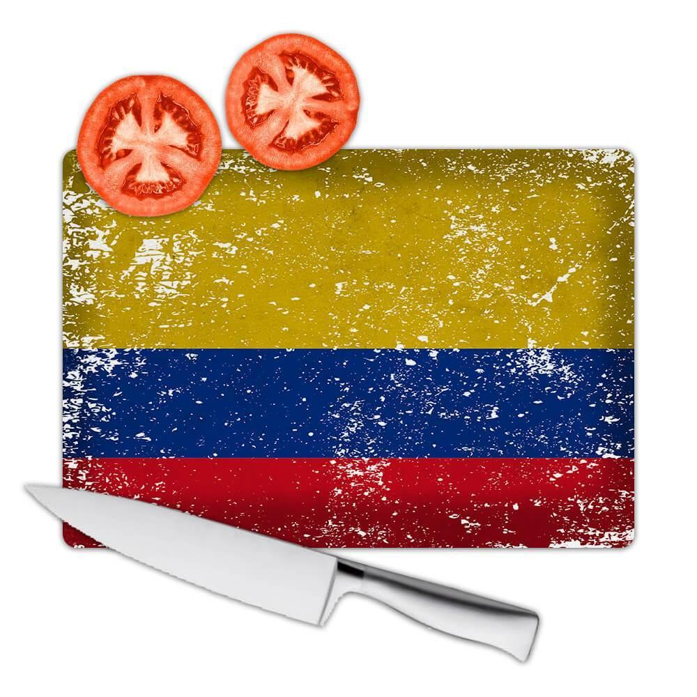Colombia : Gift Cutting Board Flag Retro Artistic Colombian Expat Country