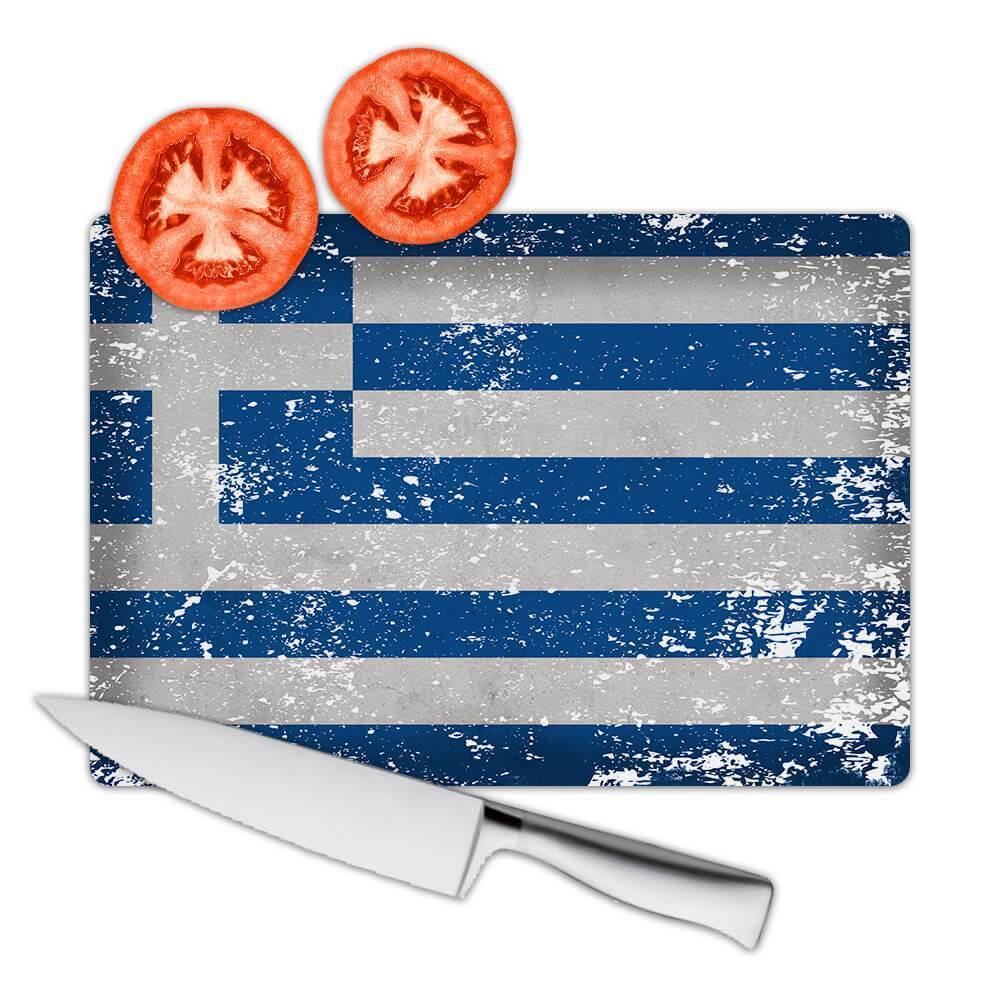 Greece : Gift Cutting Board Flag Retro Artistic Greek Expat Country