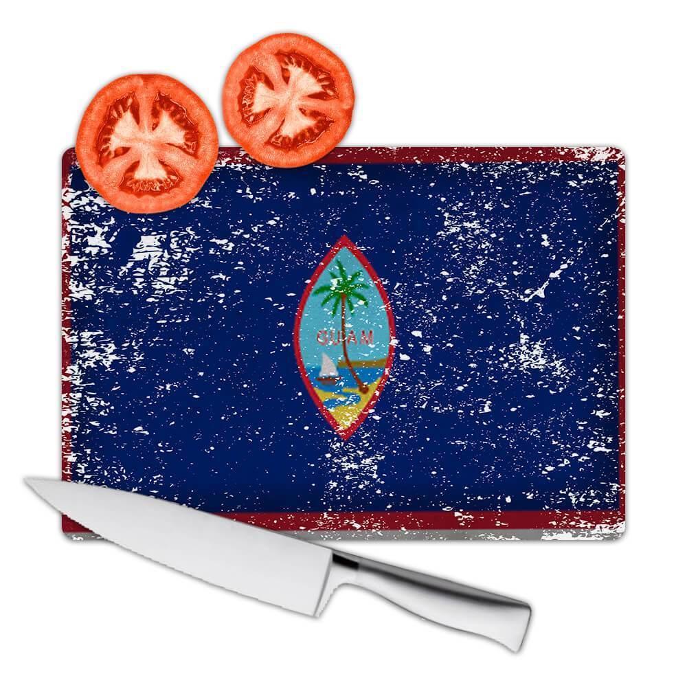 Guam : Gift Cutting Board Flag Retro Artistic Guamanian Expat Country