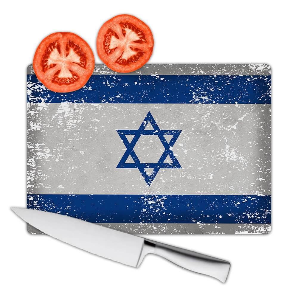 Israel : Gift Cutting Board Flag Retro Artistic Israeli Expat Country