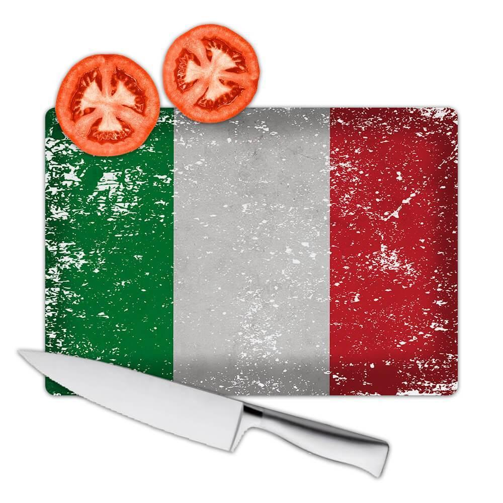 Italy : Gift Cutting Board Flag Retro Artistic Italian Expat Country