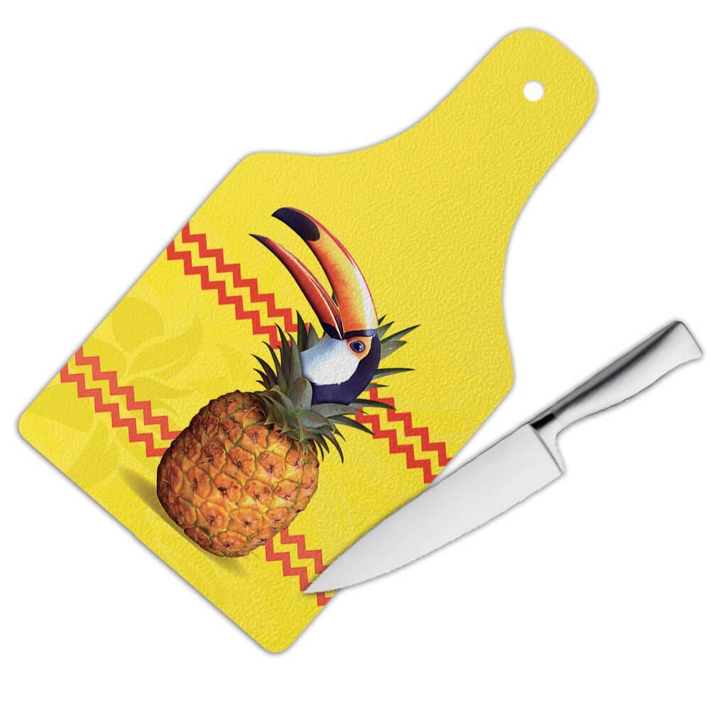 Toucan Pineapple Fusion : Gift Cutting Board Bird Tropical Fruit Modern Graphic Animal