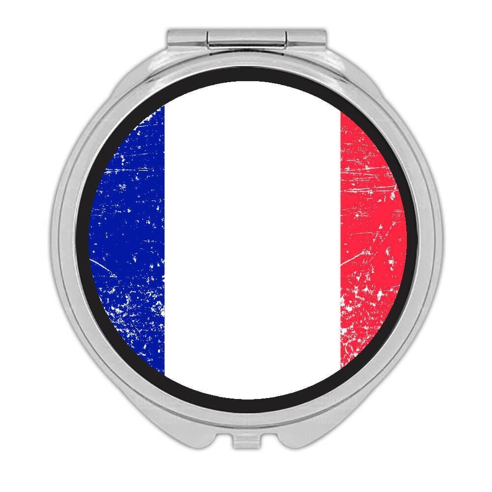 France : Gift Compact Mirror Flag Retro Artistic French Expat Country