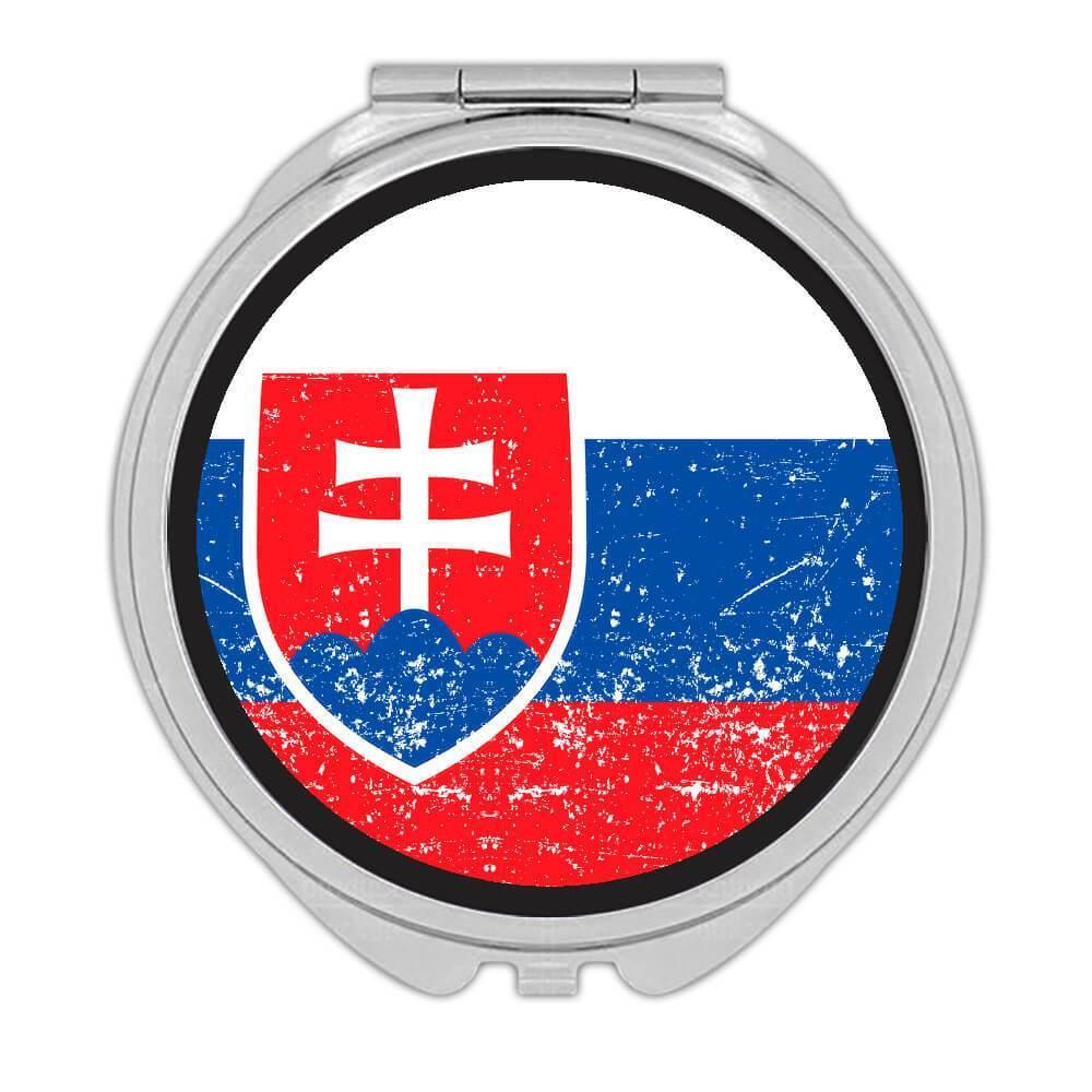 Slovakia : Gift Compact Mirror Flag Retro Artistic Slovak Expat Country
