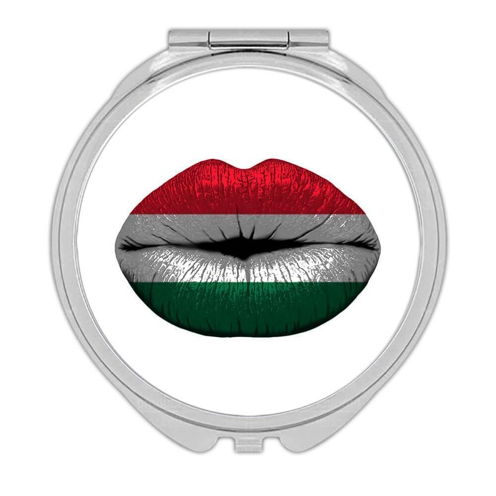 Lips Hungarian Flag : Gift Compact Mirror Hungary Expat Country For Her Woman Feminine Women Sexy Flags Lipstick