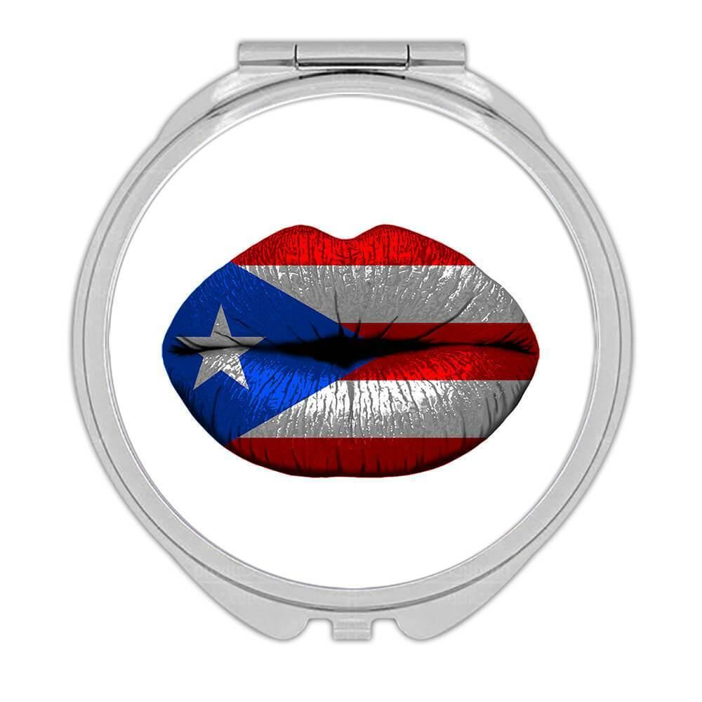 Lips Puerto Rican Flag : Gift Compact Mirror Puerto Rico Expat Country