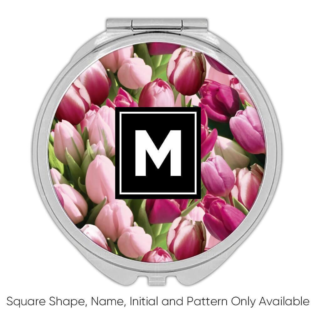 Pale Pink Tulips : Gift Compact Mirror Buds Field Spring Seamless Pattern Valentine Lovers Flowers