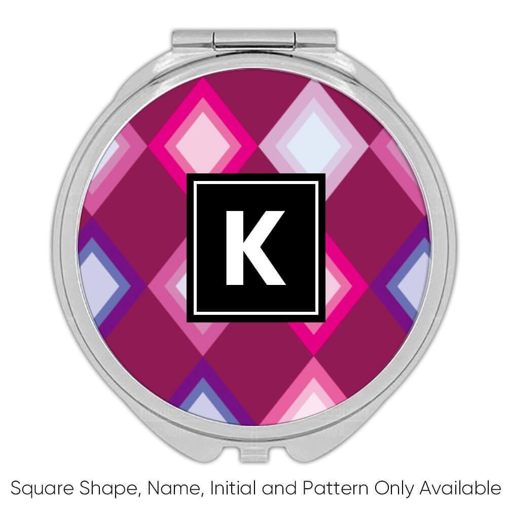 Pink Purple Losange : Gift Compact Mirror Geometric Shape Modern Decor Home