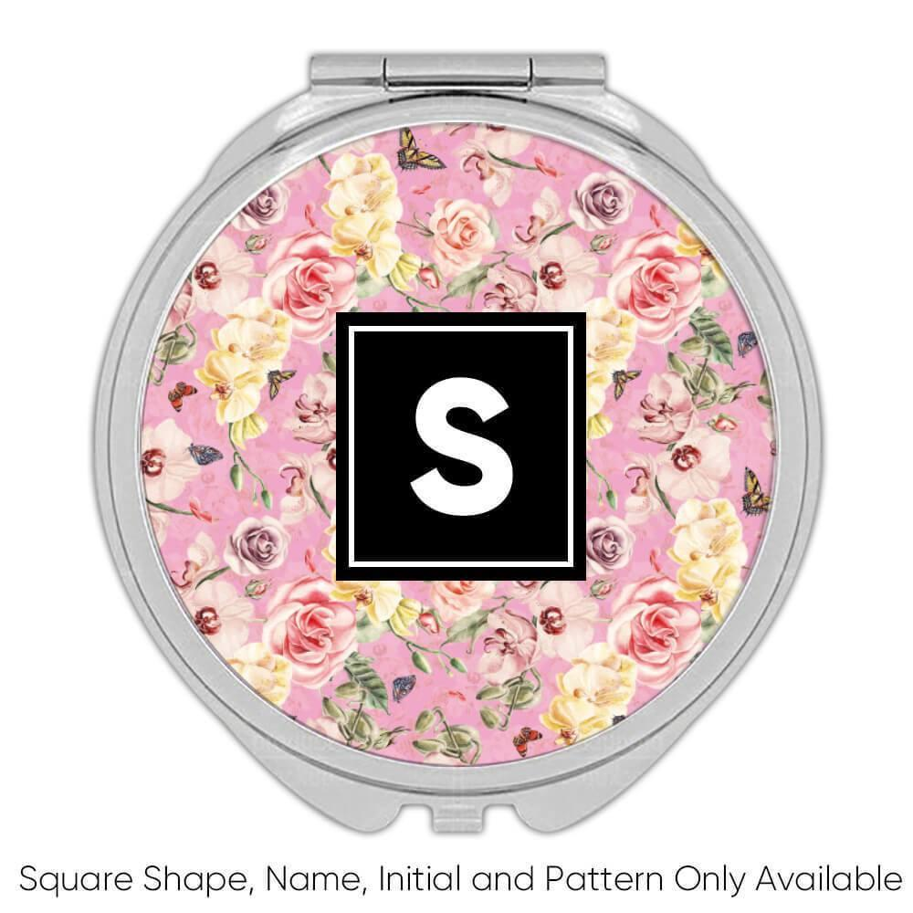 Pastel Watercolor Flowers : Gift Compact Mirror Orchid Rose Buds Home Decor Sweet 16 Valentine