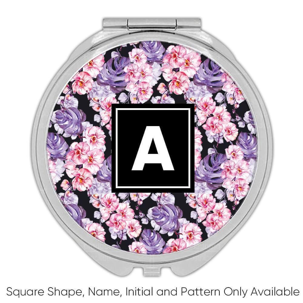 Hand Painted Orchids : Gift Compact Mirror Watercolor Arrangement Decor Floral Pattern Tropical