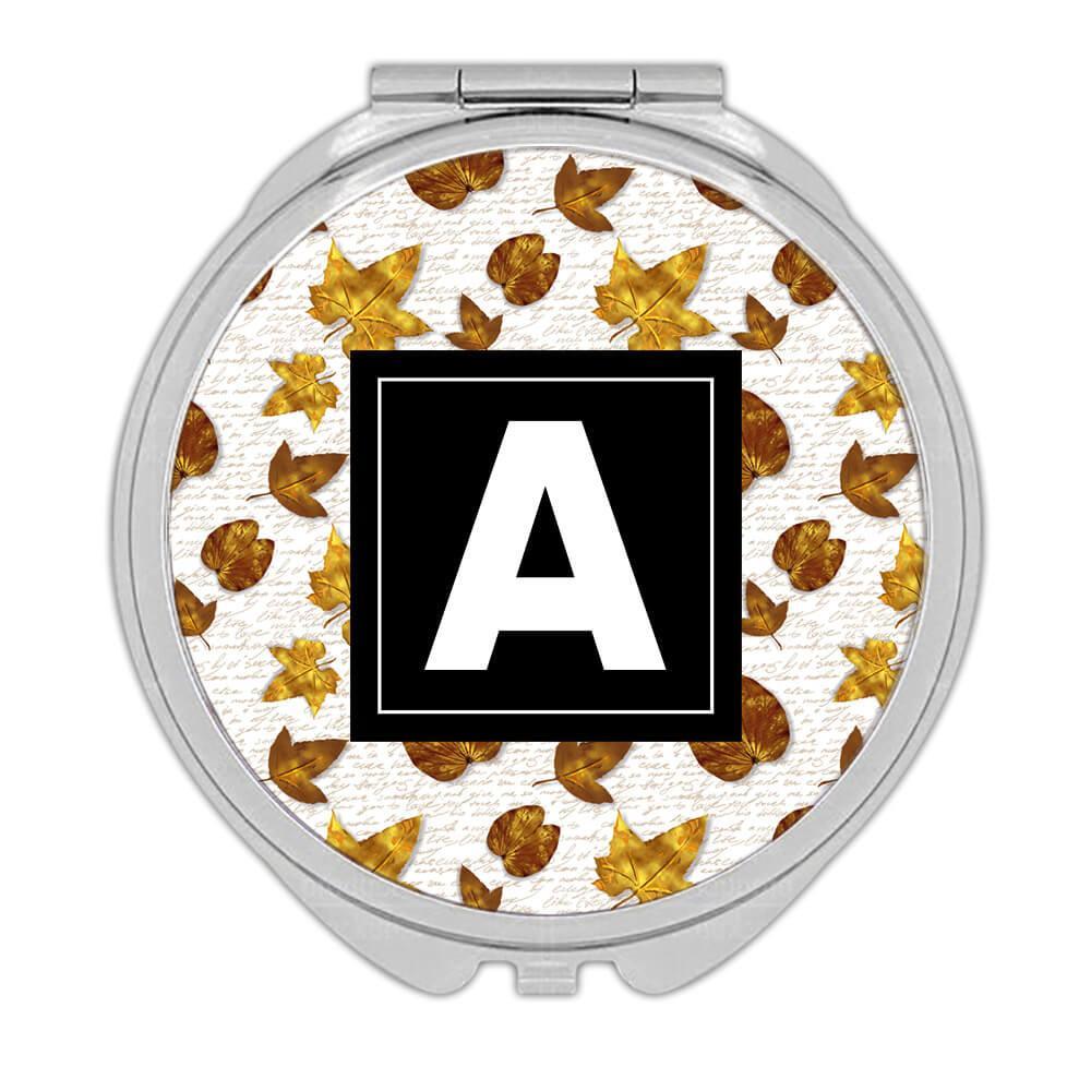 Golden Leaves : Gift Compact Mirror Autumn Thanksgiving School Teacher Text Pattern Maple Tree