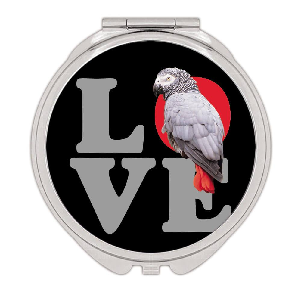 Love African Grey Parrot : Gift Compact Mirror Bird Exotic Animal Cute