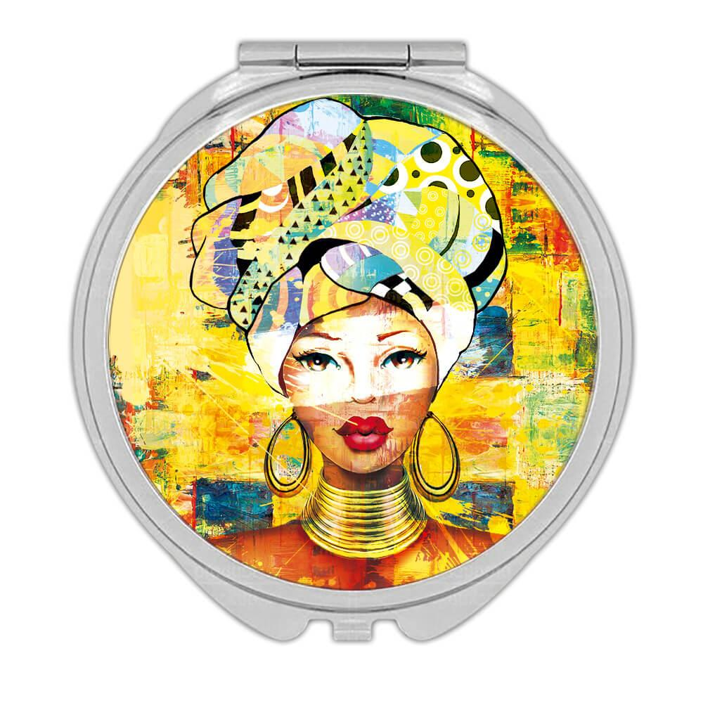 African Woman Portrait Profile : Gift Compact Mirror Ethnic Art Black Culture Ethno
