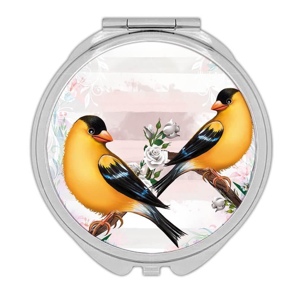 American Goldfinch : Gift Compact Mirror Bird Flowers Décor Scarlett Petrol