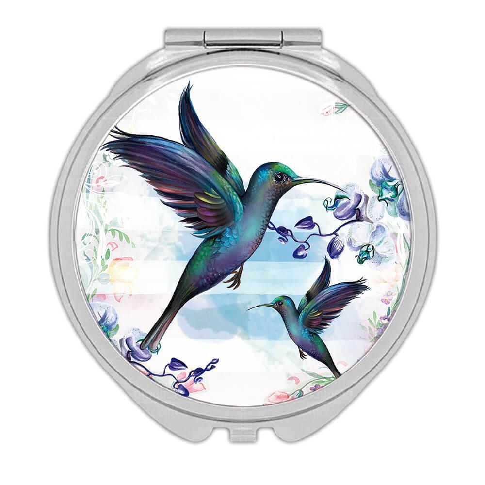Hummingbird : Gift Compact Mirror Bird Beautiful Flowers Decor Ecology Nature Aviary