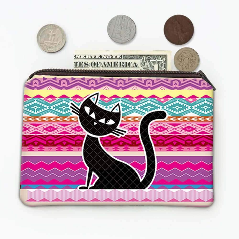 Black Cat Ethnic Pattern : Gift Coin Purse Kitty Trend Kitten