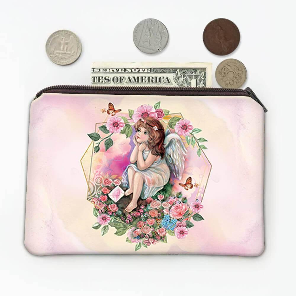 Angel Butterfly Flowers : Gift Coin Purse Catholic Religious Esoteric Victorian