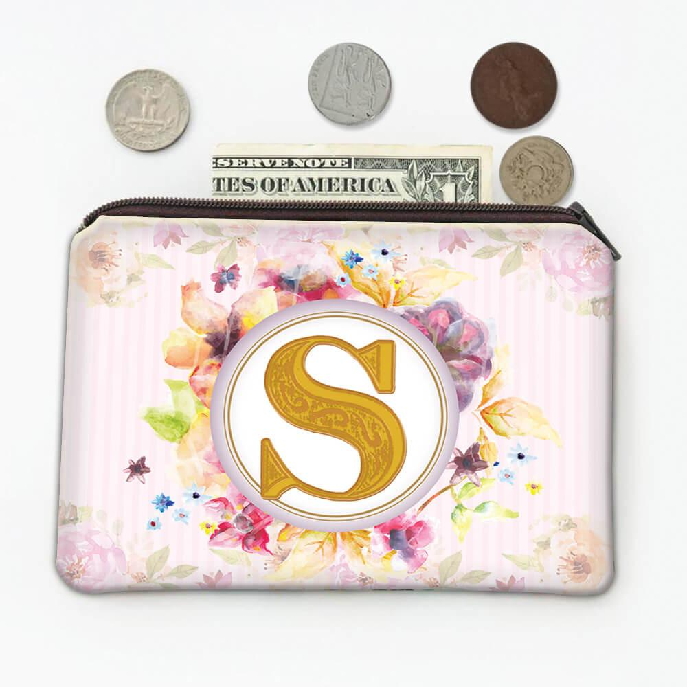 Monogram Letter S : Gift Coin Purse Name Initial Alphabet ABC