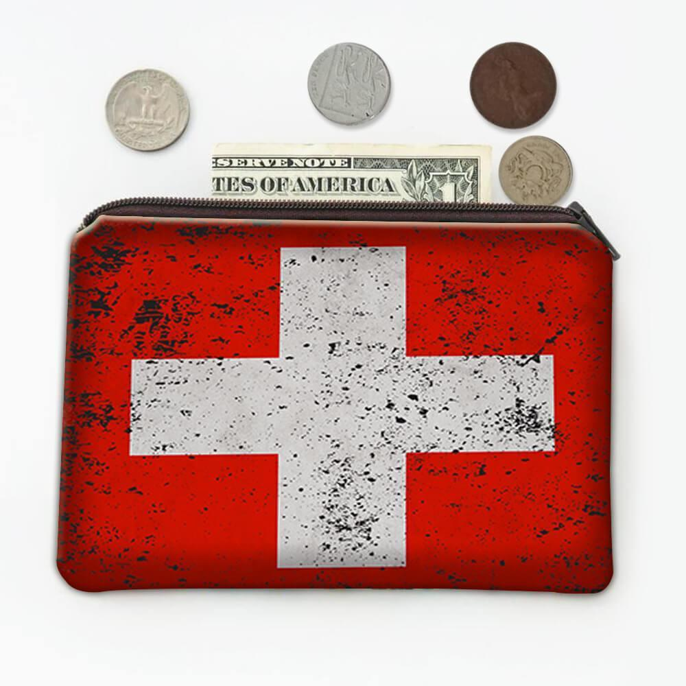 Switzerland : Gift Coin Purse Flag Retro Artistic Swiss Expat Country