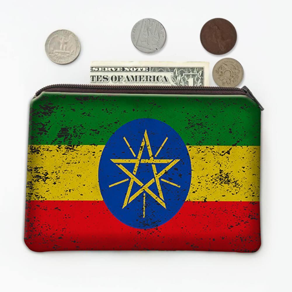 Ethiopia : Gift Coin Purse Flag Retro Artistic Ethiopian Expat Country