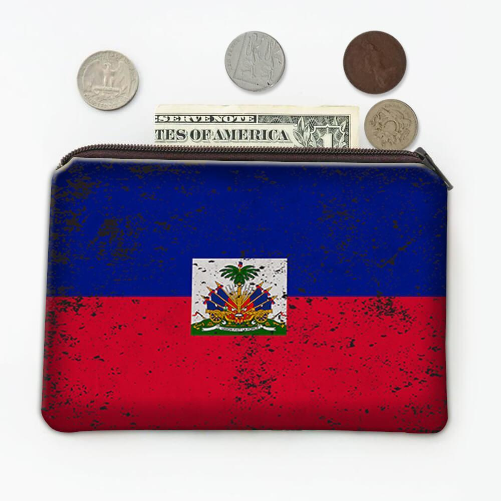 Haiti : Gift Coin Purse Flag Retro Artistic Haitian Expat Country