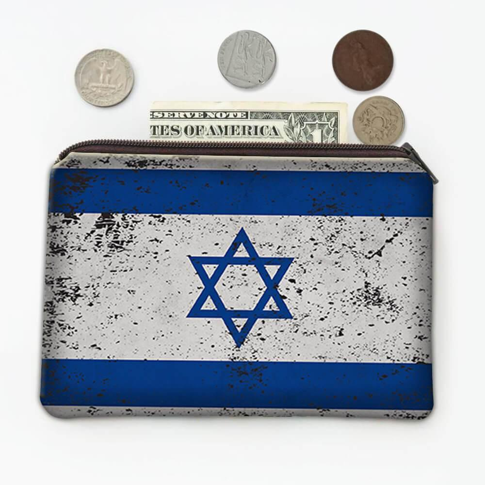 Israel : Gift Coin Purse Flag Retro Artistic Israeli Expat Country