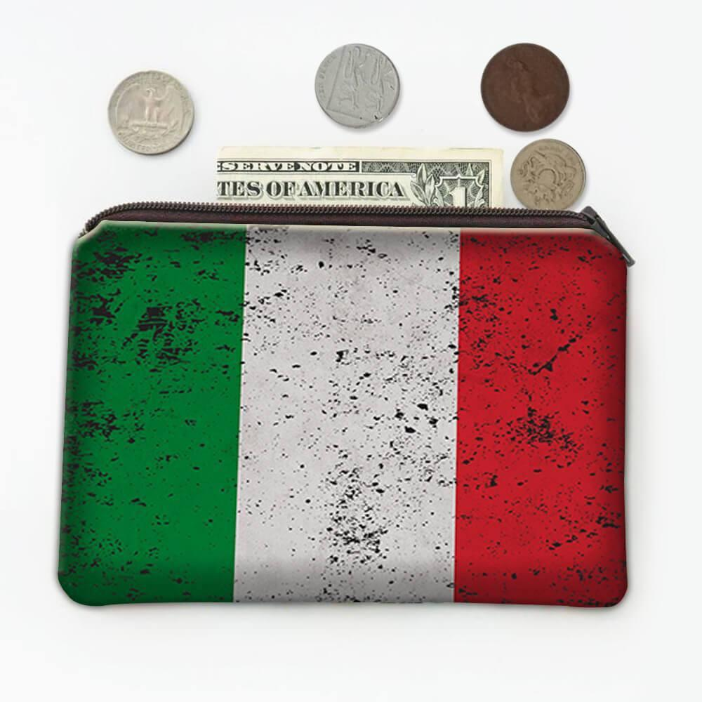 Italy : Gift Coin Purse Flag Retro Artistic Italian Expat Country