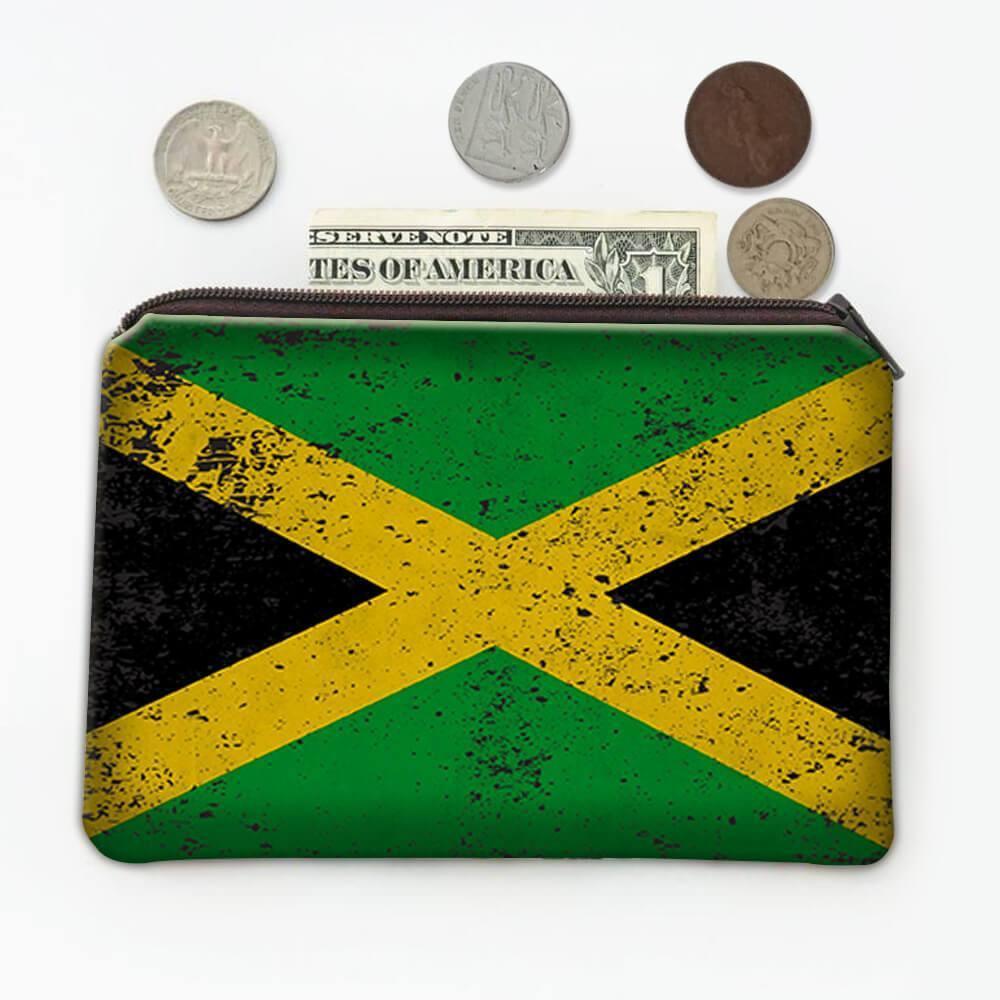 Jamaica : Gift Coin Purse Flag Retro Artistic Jamaican Expat Country