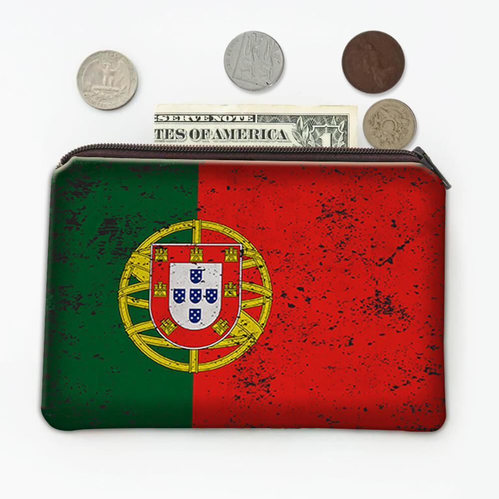 Portugal : Gift Coin Purse Flag Retro Artistic Portuguese Expat Country