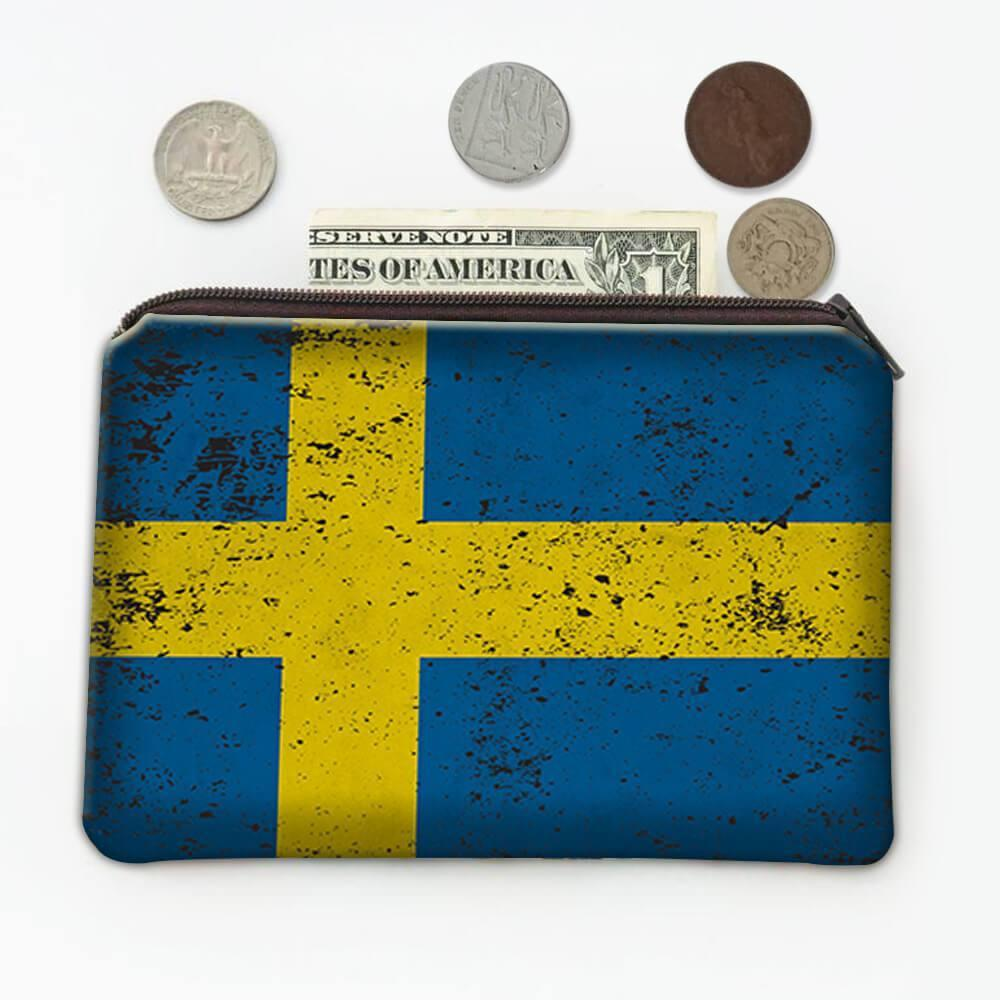 Sweden : Gift Coin Purse Flag Retro Artistic Swedish Expat Country