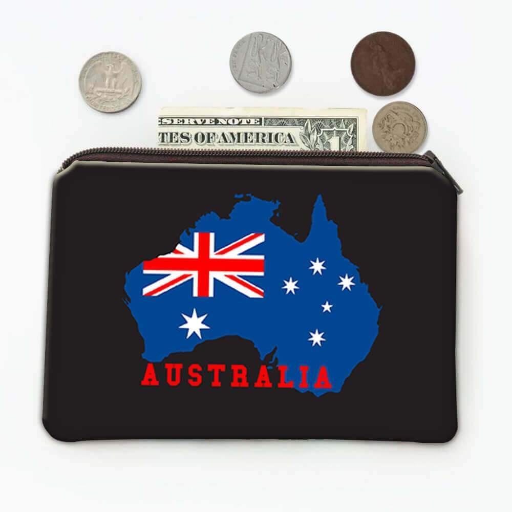 AUSTRALIA Map : Gift Coin Purse Australian Aussie Flag Expat Pride Country Souvenir