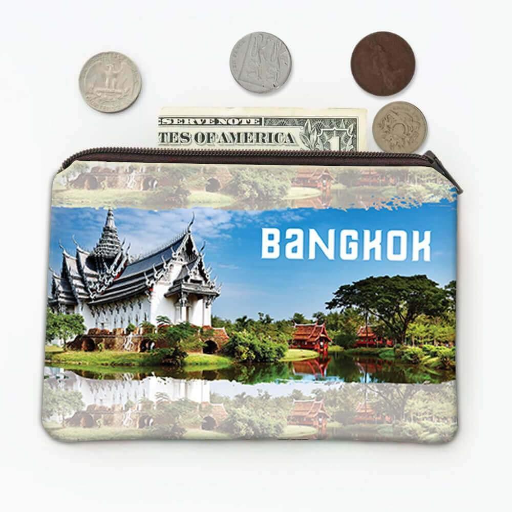 BANGKOK THAILAND : Gift Coin Purse Temple Flag Thai Buddhist Country Pride Expat