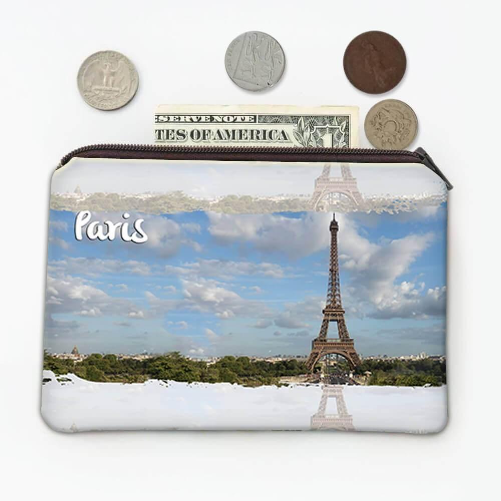 PARIS FRANCE : Gift Coin Purse Eiffel Tower Flag French Parisian Country Souvenir Expat