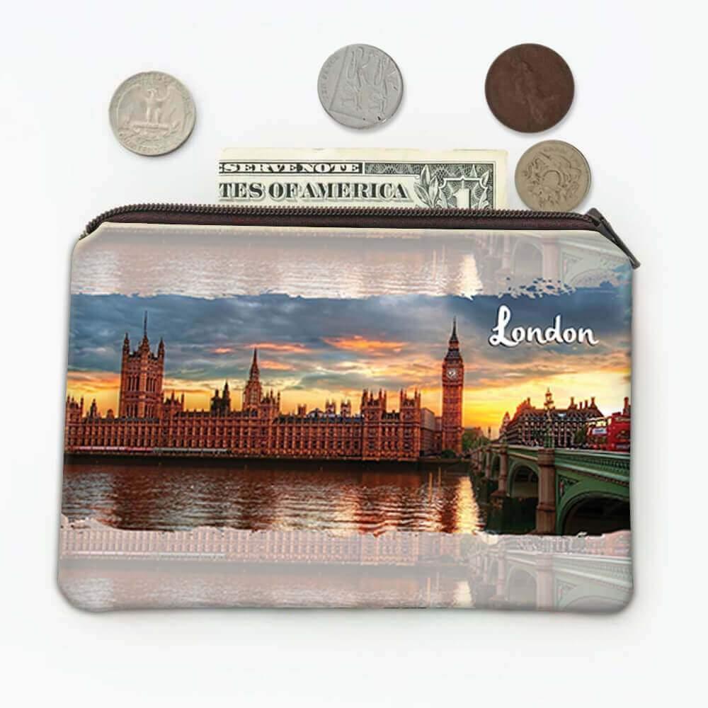 LONDON ENGLAND : Gift Coin Purse Big Ben Parliament Flag British UK Country Souvenir