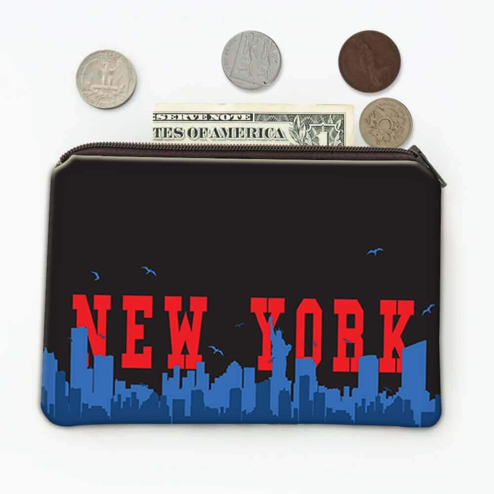 USA New York : Gift Coin Purse Americana United States American Skyline Country
