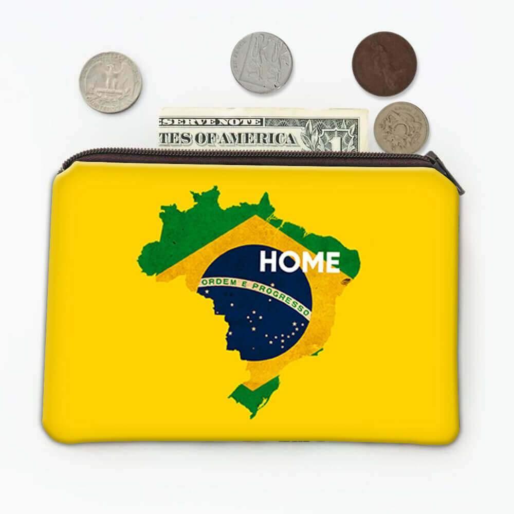 Brazil Home Map Flag : Gift Coin Purse Brazilian Brasil Country Pride Amazon