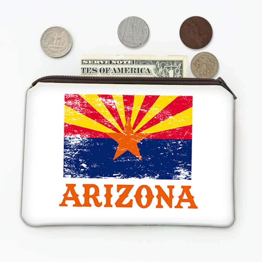 Arizona : Gift Coin Purse Flag Distressed Souvenir State USA Christmas Birthday