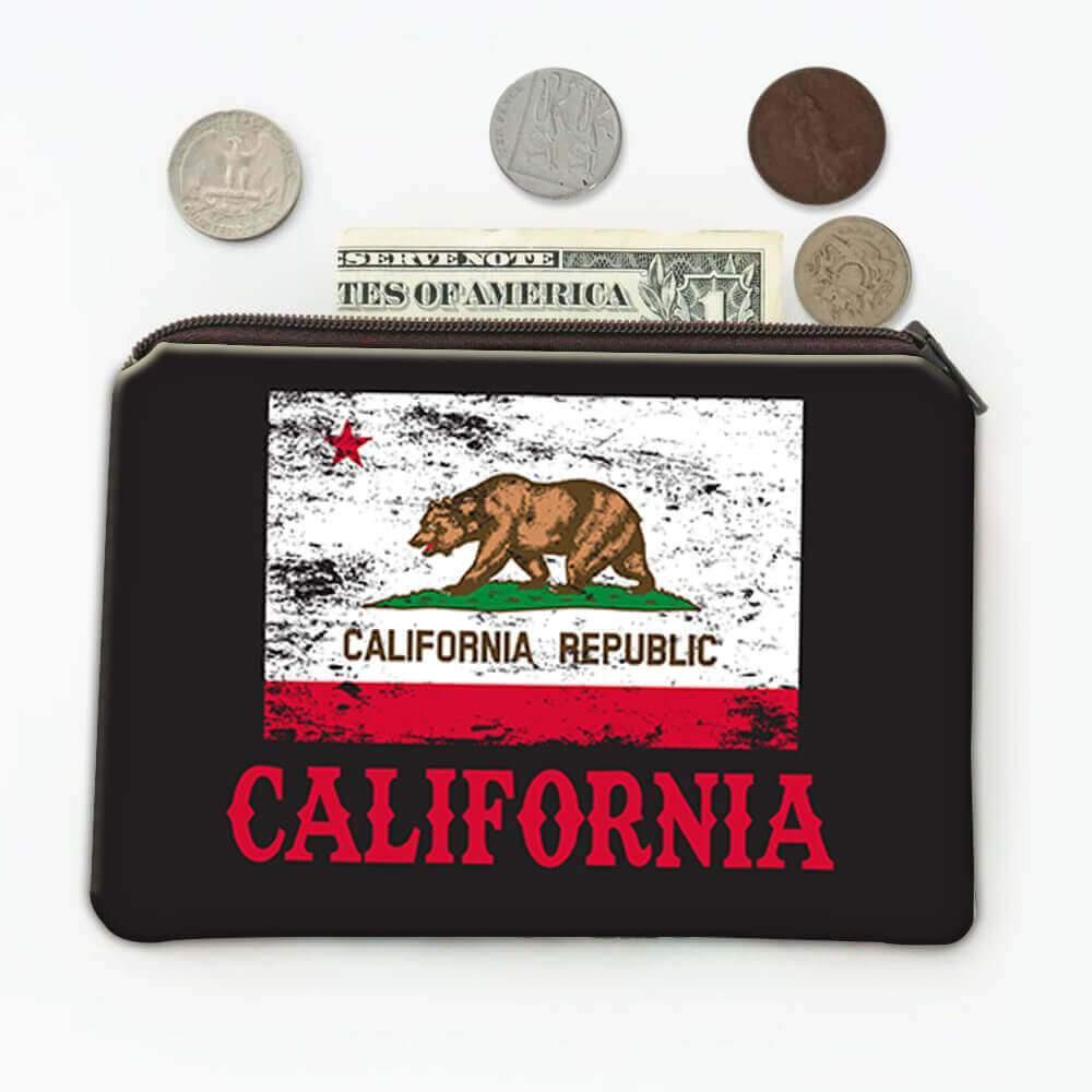California : Gift Coin Purse Flag Distressed Souvenir State USA Christmas Coworker