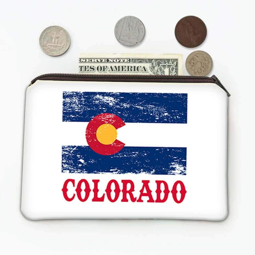 Colorado : Gift Coin Purse Flag Distressed Souvenir State USA Christmas Birthday