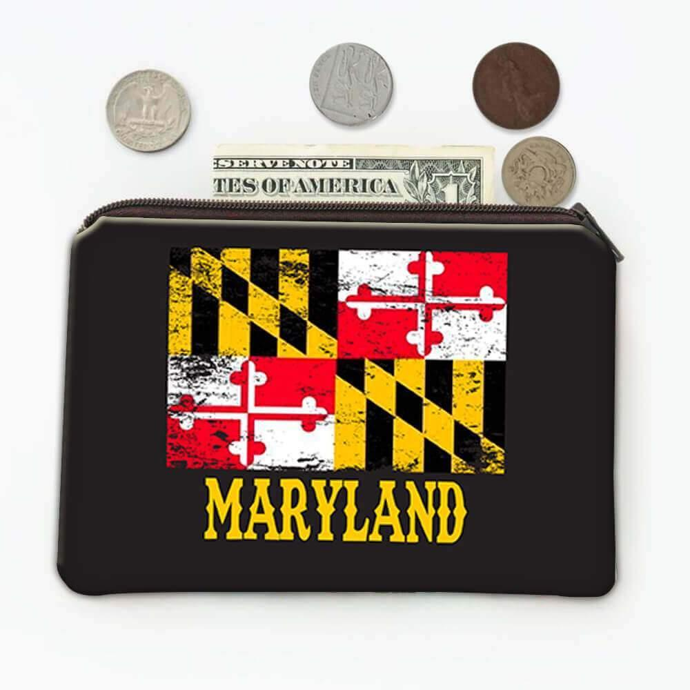 Maryland : Gift Coin Purse Flag Distressed Souvenir State USA Christmas Coworker