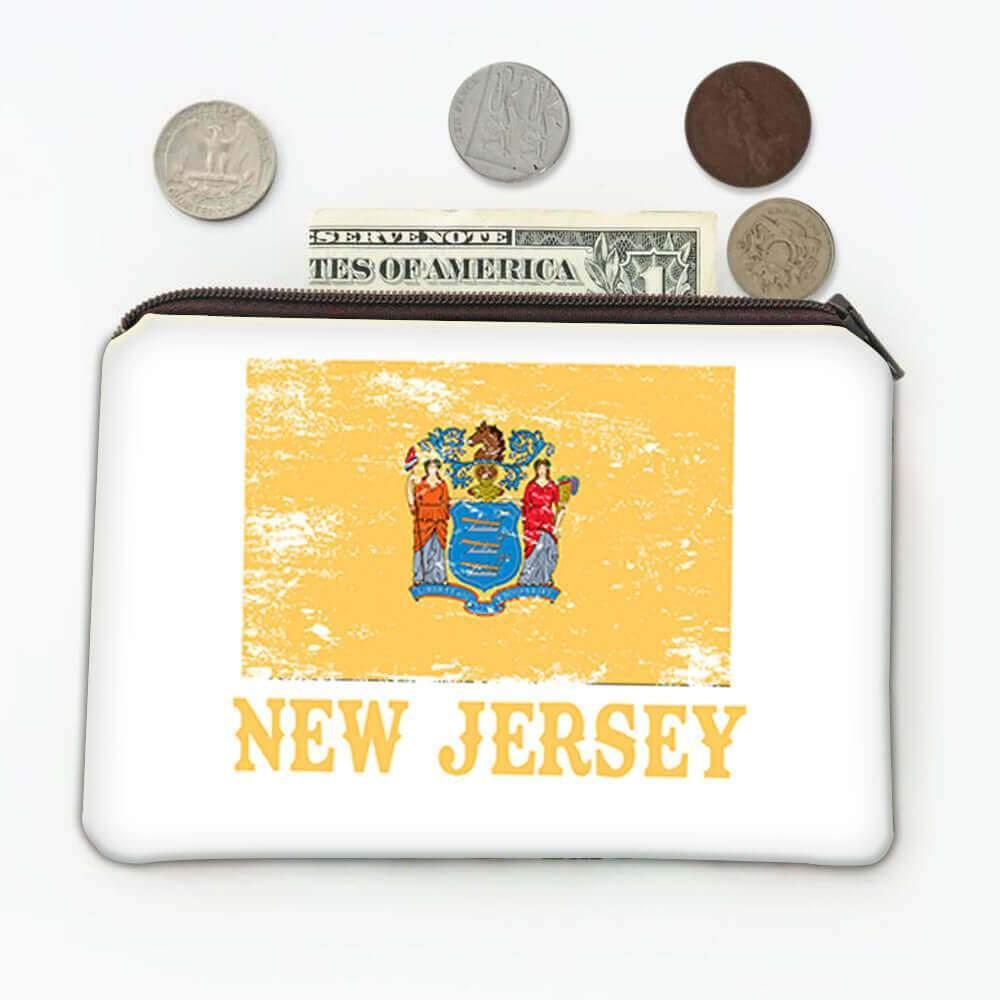 New Jersey : Gift Coin Purse Flag Distressed Souvenir State USA Christmas Coworker
