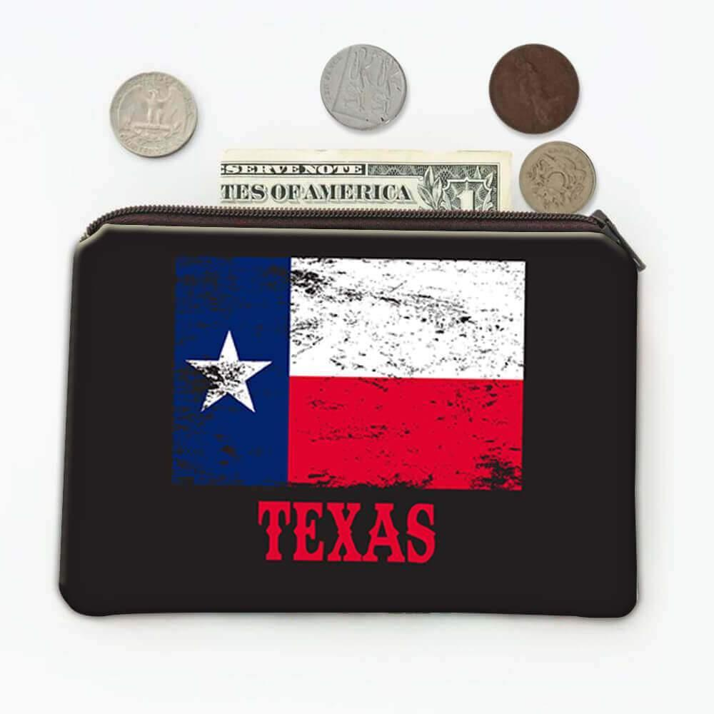 Texas : Gift Coin Purse Flag Distressed Souvenir State USA Christmas Coworker