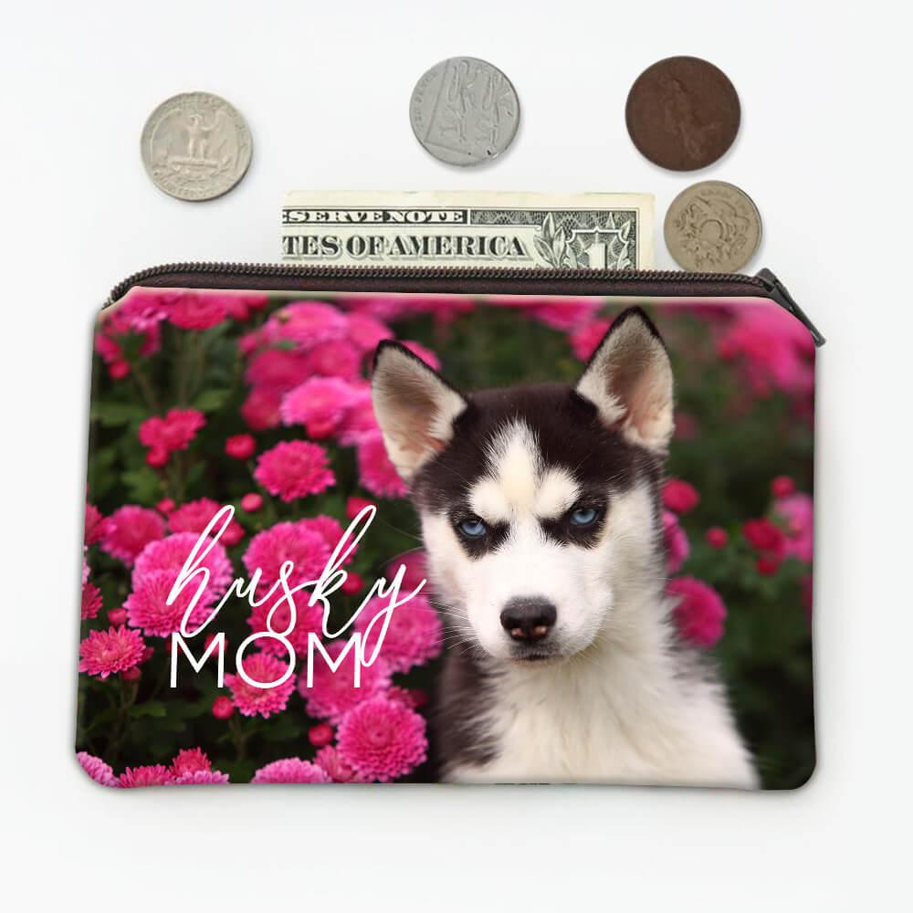 Siberian Husky Mom Flowers : Gift Coin Purse Dog Pet Puppy Floral Animal Cute