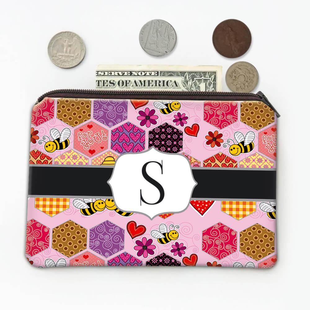 Patchwork Honeycomb : Gift Coin Purse Cute Bees Hearts Pattern Hive Flowers Valentine Abstract