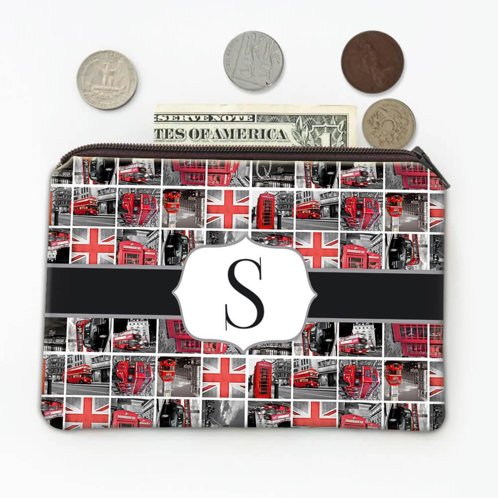 Red London : Gift Coin Purse Telephone Box Bus Travel England Pattern Furniture Home Decor