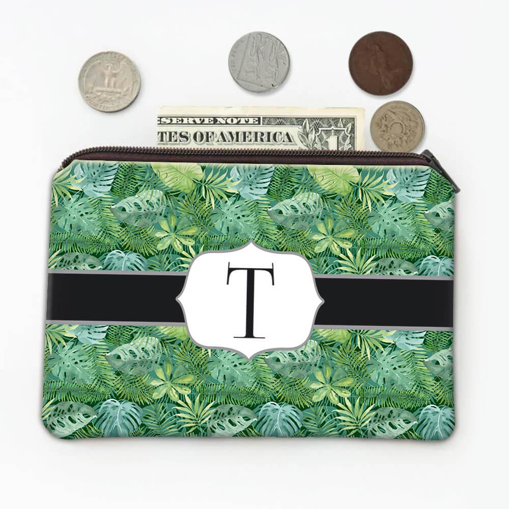 Exotic Leaves : Gift Coin Purse Jungle Tropical Trees Monstera Palm Palmetto Pattern Home Decor