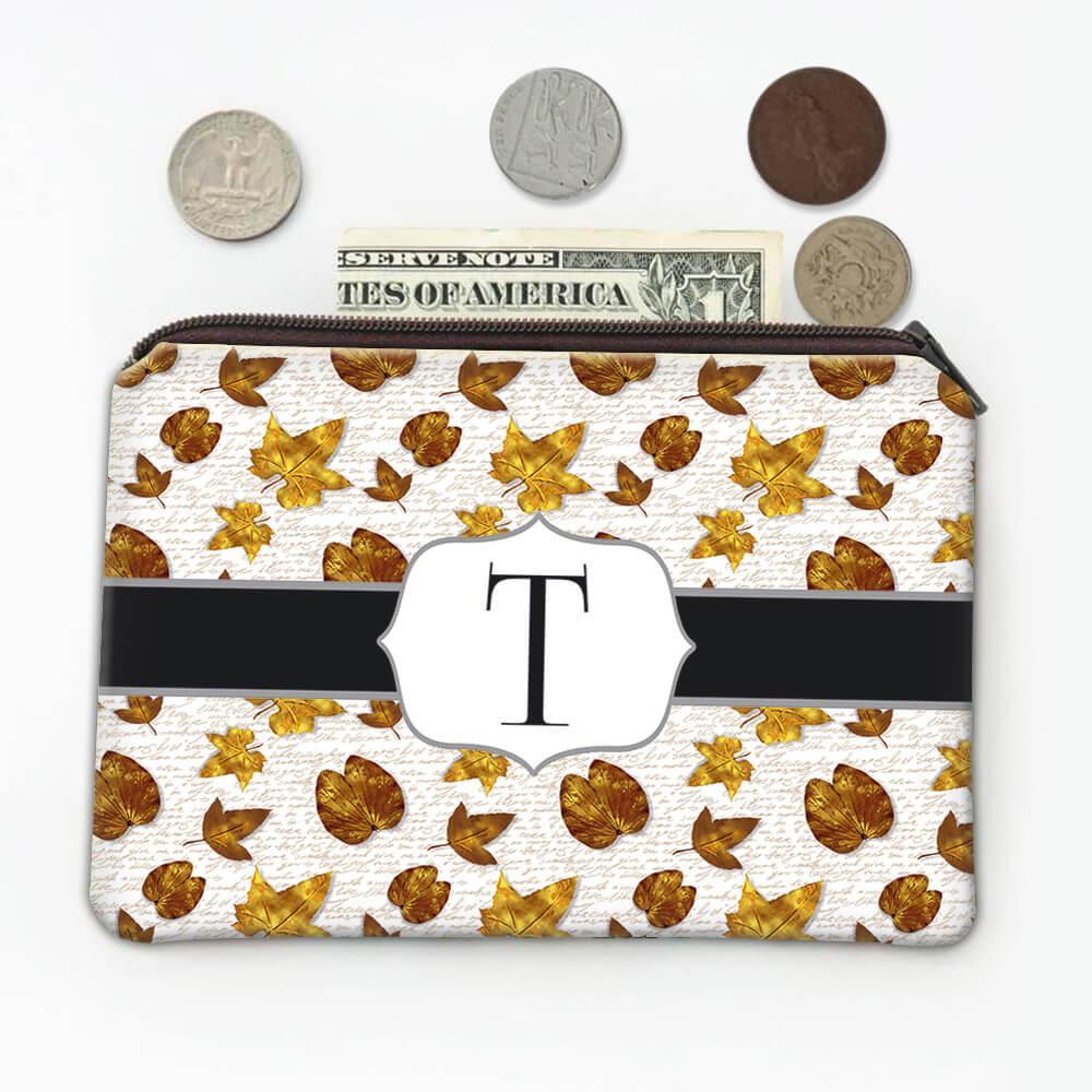 Golden Leaves : Gift Coin Purse Autumn Thanksgiving School Teacher Text Pattern Maple Tree