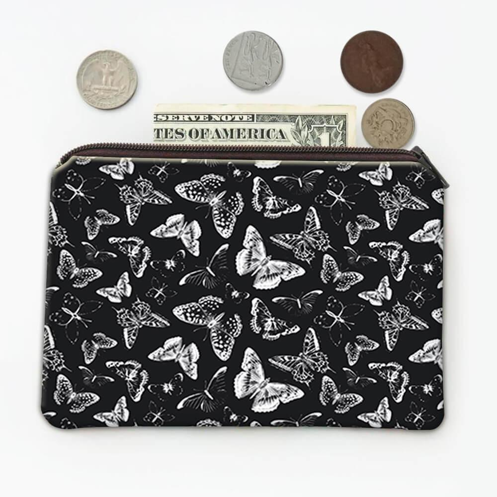 Butterfly Silhouettes : Gift Coin Purse Black White Pattern Shadows Print Insects Animal Garden